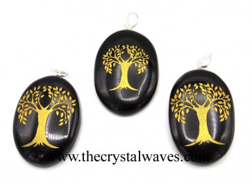Black Agate Tree Of Life Fine Engraved Oval Cabochon Pendant