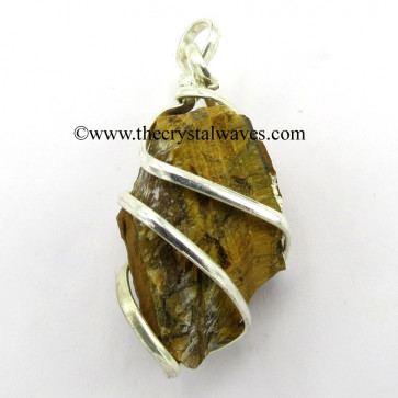 Tiger Eye Agate Hammered Nuggets Cage Wrapped Pendant