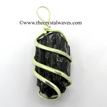 Black Tourmaline Raw Nuggets Cage Wrapped Pendant