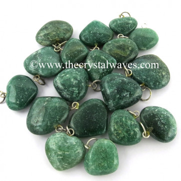 Green Aventurine 25 - 35 mm Pub Heart Pendants
