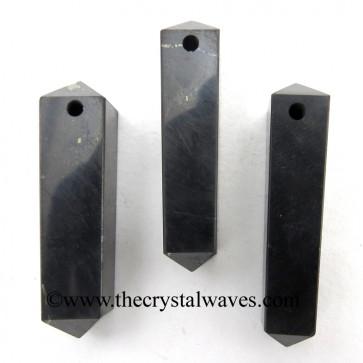Shungite 4 Facet Double Terminated 1.50 - 2 Inch Pencil Pendant
