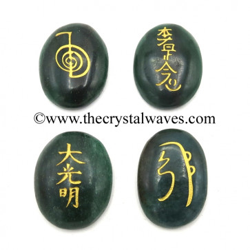 Green Aventurine Dark Oval Fine Engraved Usui Reiki Set