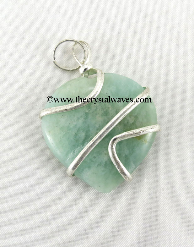 8649373ecd7a2 Amazonite Cage Wrapped Hearts Pendant