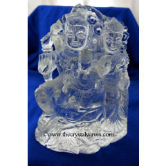 Exclusive Crystal Quartz / Sfatik Hand Carved   Shiva Parivar /Family