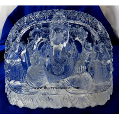 Exclusive Crystal Quartz / Sfatik Hand Carved  Lord Ganesha