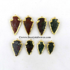 Blood Agate  Arrowhead Pendant Gold Electroplated