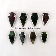 Blood Agate  Arrowhead Pendant Rhodium Electroplated
