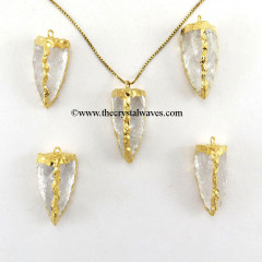 Crystal Quartz 3 Side Handknapped Tooth  Gold Electroplated Pendant