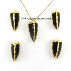 Black Obsidian  3 Side Handknapped Tooth  Gold Electroplated Pendant