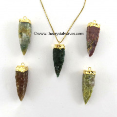 Fancy Jasper  4 Side Handknapped Tooth  Gold Electroplated Cap  Pendant