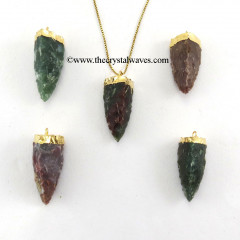 Fancy Jasper  3 Side Handknapped Tooth  Gold Electroplated Cap  Pendant