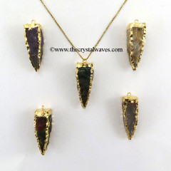 Fancy Jasper  4 Side Handknapped Tooth  Gold Electroplated  Pendant