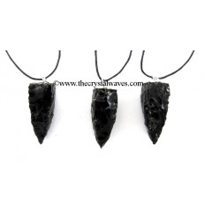 Black Obsidian 4 Side Handknapped Tooth Pendant