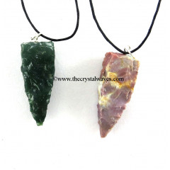 Fancy Jasper  4 Side Handknapped Tooth Pendant