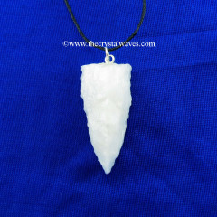 Snow Quartz  3 Side Handknapped Tooth Pendant