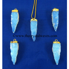 Opalite  4 Side Handknapped Tooth  Gold Electroplated Cap  Pendant