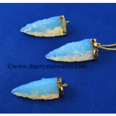 Opalite  3 Side Handknapped Tooth  Gold Electroplated Cap  Pendant