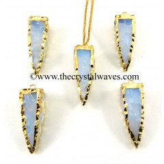 Opalite  4 Side Handknapped Tooth  Gold Electroplated  Pendant