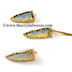 Opalite  3 Side Handknapped Tooth  Gold Electroplated  Pendant