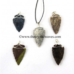 Fancy Jasper Arrowhead Wire Wrapped Pendant