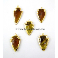 Citrine Color Glass Gold Electroplated Arrowhead