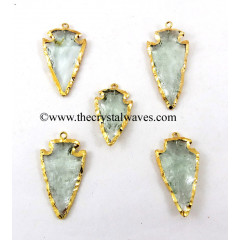 Green Amethyst Color Glass Gold Electroplated Arrowhead