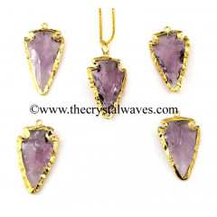 Purple Amethyst Color Glass Gold Electroplated Arrowhead