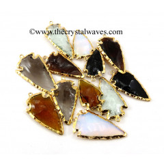 Mix Assorted Color Glass Gold Electroplated Arrowheads