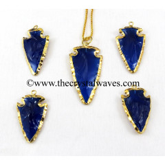 Blue Color Glass Gold Electroplated Arrowhead