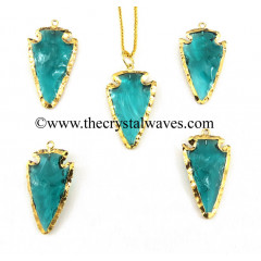 Persian Green Color Glass Gold Electroplated Arrowhead