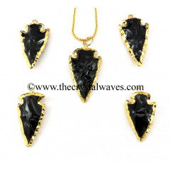 "Black Obsidian 1.50"" - 2"" Gold Electroplated Arrowhead"