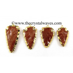 "Red Gold Stone  1"" - 1.50"" Gold Electroplated Arrowhead"