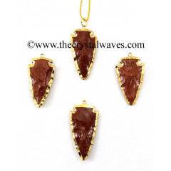 "Red Gold Stone 1.50"" - 2"" Gold Electroplated Arrowhead"