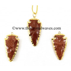 "Red Gold Stone 2"" - 2.50"" Gold Electroplated Arrowhead"