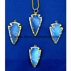 "Opalite   1"" - 1.50"" Gold Electroplated Arrowhead"