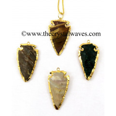 "Fancy Jasper 1.50 - 2"" Electroplated Arrowhead"