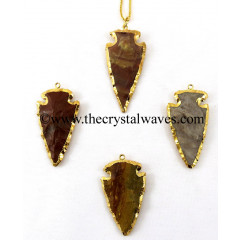 "Fancy Jasper 2""  Gold Electroplated Arrowhead"