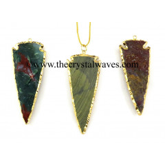 "Fancy Jasper 2.50""  Gold Electroplated Arrowhead"