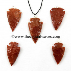 "Red Gold Stone  1"" - 1.50"" Arrowhead Pendants"