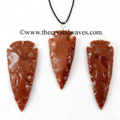 "Red Gold Stone  2"" - 2.50"" Arrowhead Pendants"