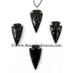 "Black Obsidian 1"" - 1.50"" Arrowhead Pendants"