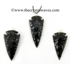 "Black Obsidian 1.50"" - 2"" Arrowhead Pendants"