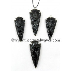 "Black Obsidian 2"" - 2.50"" Arrowhead Pendants"