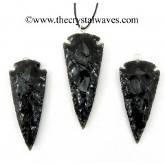 "Black Obsidian 2.50"" - 3"" Arrowhead Pendants"