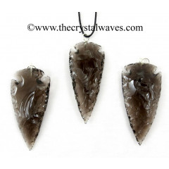 "Smoky Obsidian 2"" - 2.50"" Arrowhead Pendants"