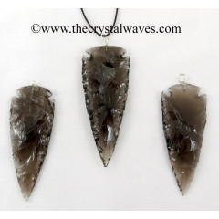 "Smoky Obsidian 2.50"" - 3"" Arrowhead Pendants"