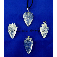 "Crystal Quartz  1"" - 1.50"" Arrowhead Pendants"