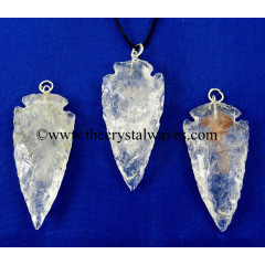"Crystal Quartz 2"" - 2.50"" Arrowhead Pendants"