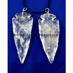 "Crystal Quartz 2.50"" - 3"" Arrowhead Pendants"