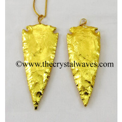 "Gold Plated Arrowhead 3.50"" - 4"" Pendants"